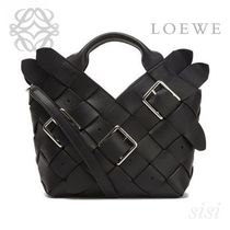 LOEWE★ロエベ Woven Buckle Basket Mini Bag Black