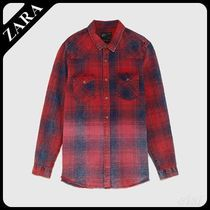 ☆ Men's ZARA☆ FADED-EFFECT CHECKED SHIRT