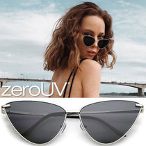 全4色*zeroUV*OVERSIZE THIN METAL CAT EYE BUTTERFLY FRAME SUN