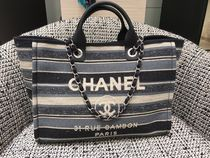 Chanel♡DeauvilleボーダートートL size