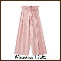 MassimoDutti♪STRIPED CULOTTE FIT TROUSERS WITH TIE