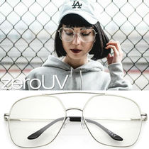 全3色*zeroUV*RETRO OVERSIZE SQUARE METAL CLEAR LENS AVIATOR