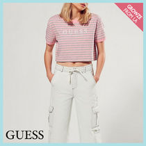 【Guess】ピンク x グレー ボーダー ロゴ クロップ Tシャツ
