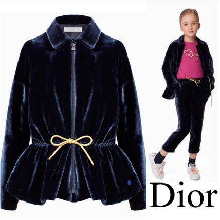Dior キッズアウター Dior Navy Velvet Fitted Jacket 関税送料込