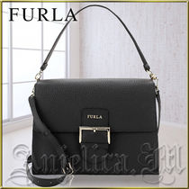 ★安心ヤマト便★Furla Classic Leather Top Handle Bag Onyx