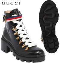 【正規品保証】GUCCI★18秋冬★60MM TRIP BRUSHED LEATHER BOOTS