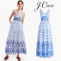 J CREW 涼しげコットンマキシ V-neck maxi dress in block print