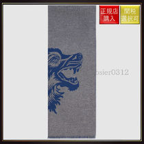 【グッチ】Wool Scarf With Wolf Jacquard Midnight Blue/Grey