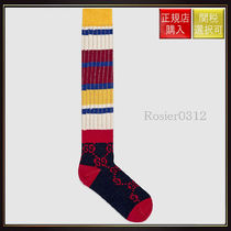 【グッチ】Gg Striped Wool Socks Midnight Blue Wool
