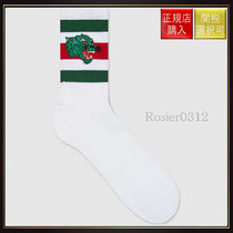 【グッチ】Socks With Panther Face Patch White Cotton