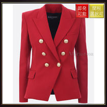 【バルマン】Double Breasted Wool Jacket Red