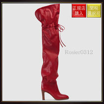 【グッチ】Leather Over The Knee Boot Red Leather