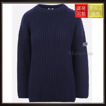 【ミュウミュウ】Logo Patch Wool Knit Pullover Blue
