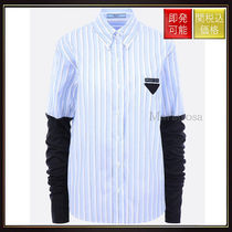 【プラダ】Striped Shirt With Contrasting Sleeves Light Blue