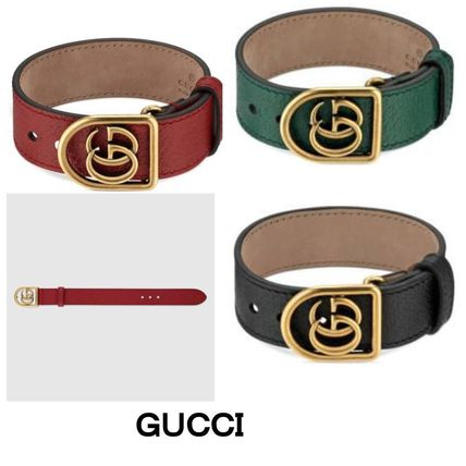 GUCCI☆Bracelet in leather with Double G☆ブレス3色☆関税込