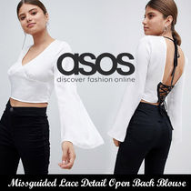 ASOS◆Missguided Lace Detail Open Back Blouse《送料込》