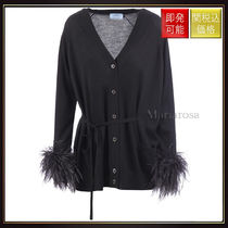 【プラダ】Combed Wool Cardigan Wth Feathers OneColor