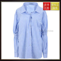 【プラダ】Oversized Striped Popline Shirt Light Blue And