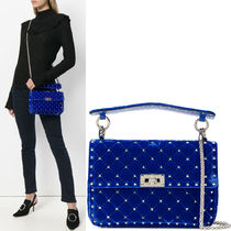 18-19AW V1136 VELVET ROCKSTUD SPIKE MEDIUM CHAIN BAG