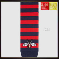 【グッチ】Striped Wool Scarf With Bee Blue/Red Wool