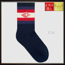 【グッチ】Socks With Gucci Game Patch Midnight Blue Cotton