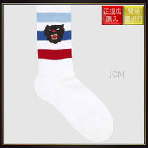 【グッチ】Stretch Cotton Socks With Panther Multi