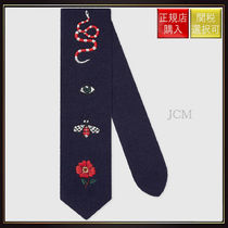 【グッチ】Embroidered Wool Tie Midnight Blue Wool