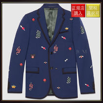 【グッチ】Embroidered Monaco Jacket Dark Blue Wool Mohair