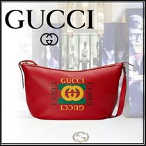 ★GUCCI *プリント ハーフムーン ホーボーバッグ* レッド★