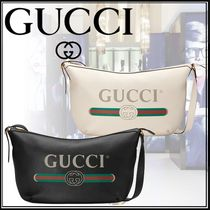 ★GUCCI *プリント ハーフムーン ホーボーバッグ* 白・黒★