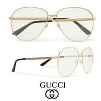 GUCCI Aviator-Style Gold-Tone Optical Glasses