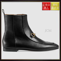 【グッチ】Gucci Jordaan Leather Ankle Boot Black Leather