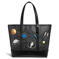 ☆COACH☆WEST TOTE SIGNATURE CANVAS WITH SPACE PATCHES