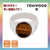 残りわずか!TOM WOOD Snowflake Obsidian Oval Signet Ring