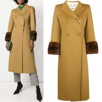 FE2123 MINK FUR TRIMMED DOUBLE BREASTED WOOL COAT