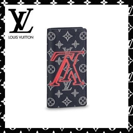 Louis-Vuitton 赤いロゴプリントがクール◆PORTEFEUILLE BRAZZA