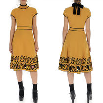 FE2124 HEART INTARSIA KNIT FLARE DRESS WITH CUT-OUT DETAIL