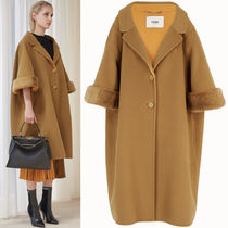 FENDI(フェンディ) コート FE2128 OVERSIZED WOOL COAT WITH MINK FUR TRIM