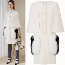 FE2129 WOOL CAPE COAT WITH FOX FUR POCKET