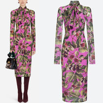 18-19AW DG1675 FIG PRINT STRETCH SILK GEORGETTE DRESS