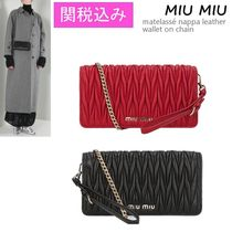 VIP価格 ! MiuMiu matelasse nappa leather wallet on chain♪