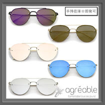 手持在庫★zeroUV★Modern Rimless Mirrored Flat Aviator A823
