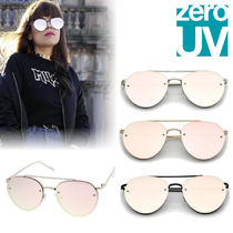 zeroUV(ゼロユーブイ) サングラス 手持在庫★zeroUV★Modern Mirrored Flat Rimless Aviator A825