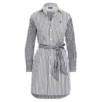 暑い夏 はじまる Striped Cotton Shirtdress