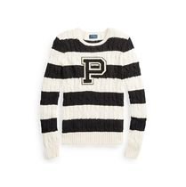 暑い夏 はじまる Patch Striped Cotton Sweater