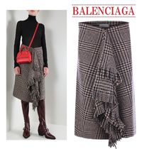 【Balenciaga】prince of Wales asymmetric skirt送料関税込