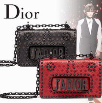 【Dior】カーフスキン ヒートエンボス スタッズバッグ BLACK/RED