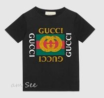 GUCCI(グッチ) キッズ用トップス 【2018SS】GUCCI キッズ ロゴ Tシャツ 黒 4Y~10Y