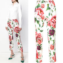 18-19AW DG1700 PEONY PRINT CADY PANTS WITH SIDE STRIPE