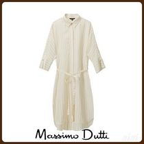 MassimoDutti♪STRIPED OVERSIZED LINEN BLOUSE WITH GEM DETAIL